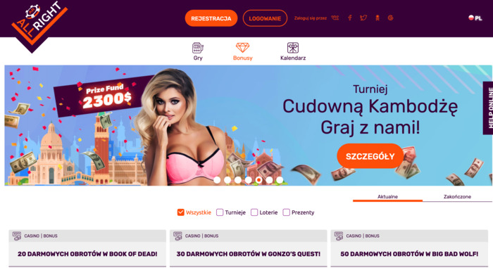 bonusy kasynowe All Right Casino